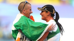 Rob Heffernan is congratulated by his wife Marian after winning the gold medal