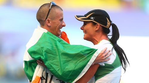Rob Heffernan celebrates with his wife Marian following victory in the 50km walk at the World Athletics Championships