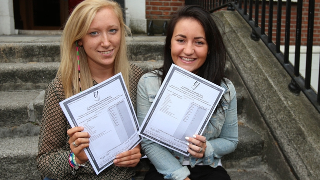Sinead Brennan (L) and Lee Anne Keogh picked up their results at Dublin's Loreto College