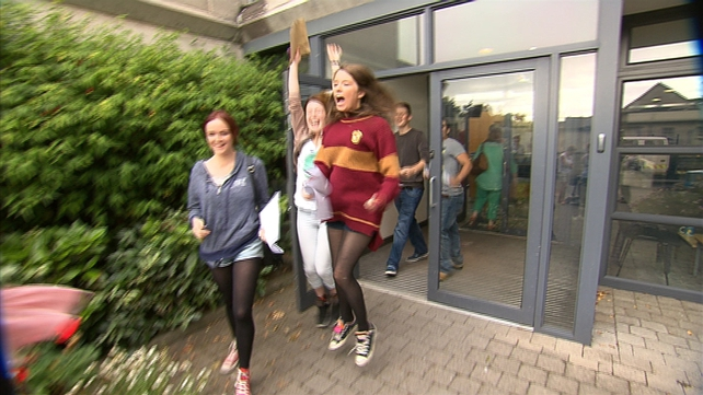 Students collect their results at St Andrew's College, Booterstown