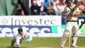 Matt Prior of England takes a catch to dismiss Chris Rogers of Australia in the Ashes at Chester-le-Street, England