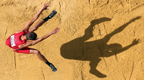 Gunnar Nixon of the United States competes in the Men's Decathlon Long Jump at the IAAF World Athletics Championships in Moscow