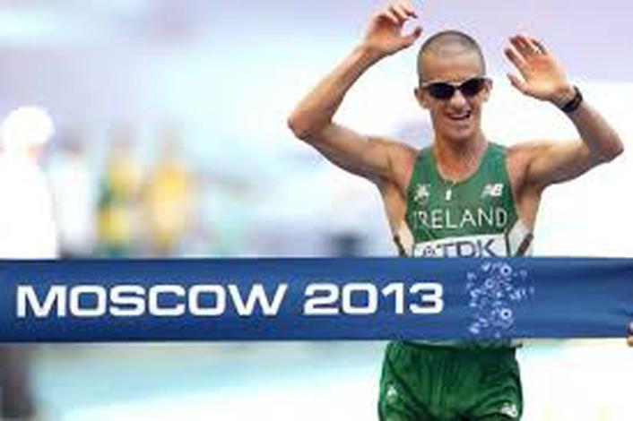 Eamon Coughlan's reaction to  Rob Heffernan Gold Medal win