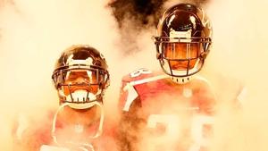 Atlanta Falcons players enter the field prior to facing the Cincinnati Bengals at Georgia Dome in Atlanta, Georgia