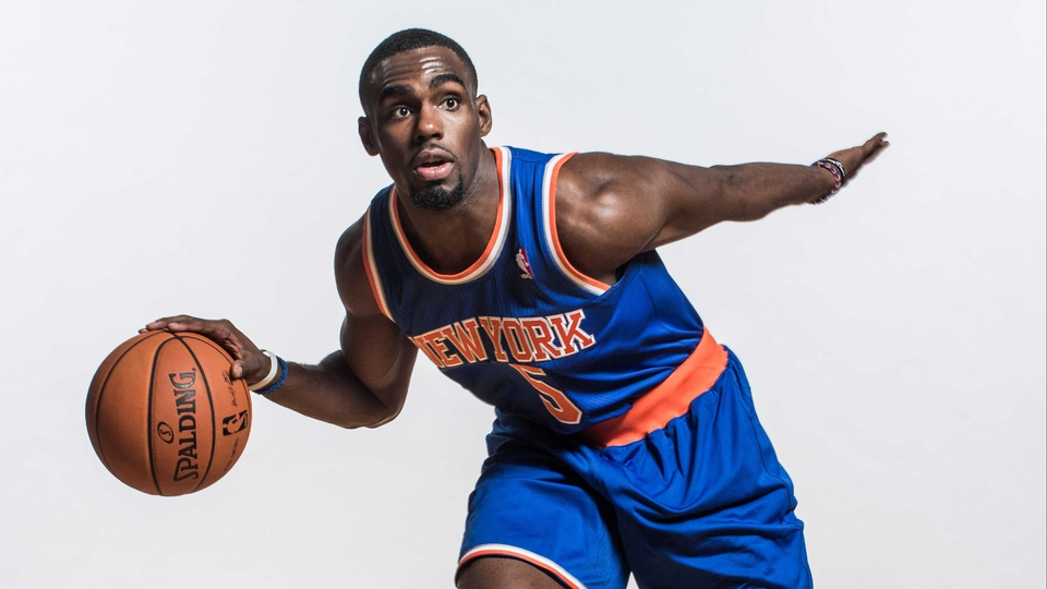 Tim Hardaway Jr. of the New York Knicks during a photo shoot at the MSG Training Center in Greenburgh, New York