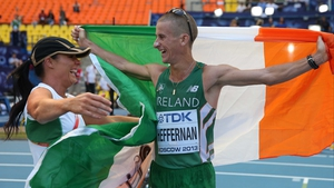 And last but not least, Robert Heffernan and his wife Marian share the joy of his 50km Walk gold at the World Championships