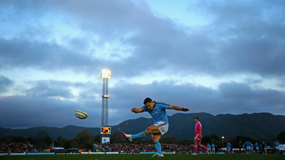 Dan Carter kicks a conversion during the All Black training match against Canterbury in Lower Hutt, New Zealand