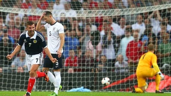 James Morrison celebrates his opener at Wembley