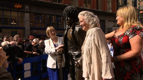 Philomena Lynott at the unveiling of the statue today