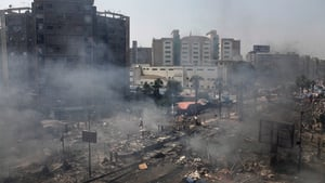 Aerial view of Cairo after a violent crackdown by army forces on a pro-Mursi camp in the north of the city