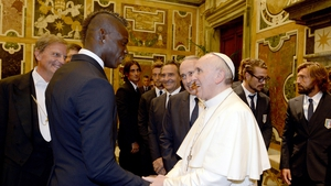 Controversial Italian soccer player Mario Balotelli meets Pope Francis in the Vatican