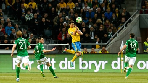Zlatan Ibrahimovic in action against Ireland in March