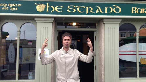 Strand by me: Liam was in town for a spot of surfing according to bar manager Neil Byrne
