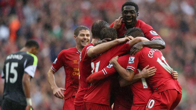 Liverpool celebrate a winning start to their league season