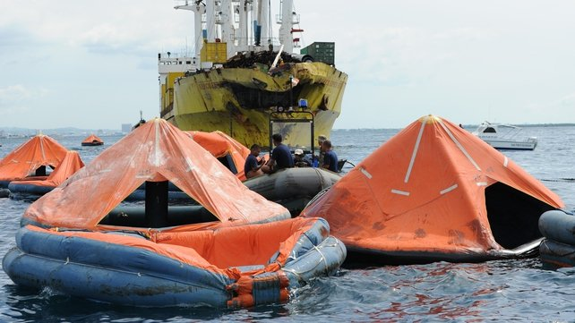 Life rafts from ferry sunk by freighter  drift off Philippines coast