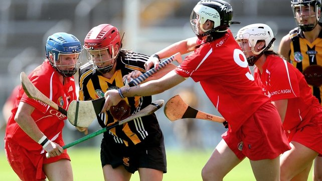 Cork's Breige Corkery and Aisling Thompson with Aisling Dunphy of Kilkenny