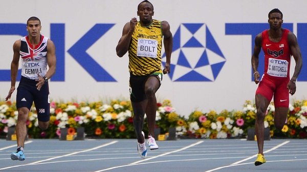 Usain Bolt had a clear lead on the bend in the 200 metres final despite having posted the slowest reaction time