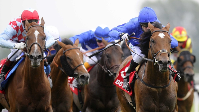 Royal Empire (blue silks) provided Saeed bin Suroor and Kieren Fallon with their second wins in the Geoffrey Freer Stakes