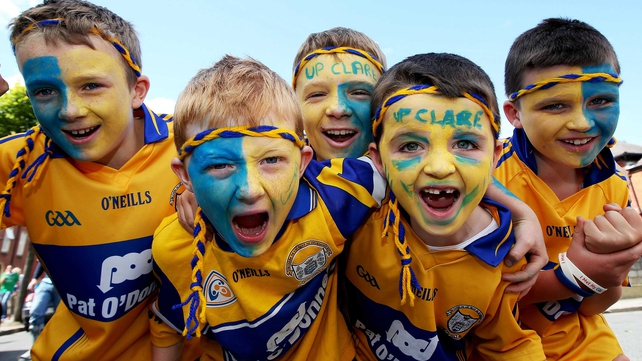 Young Clare fans outside Croke Park
