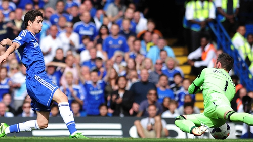 Oscar gave Chelsea the lead at Stamford Bridge in the 13th minute