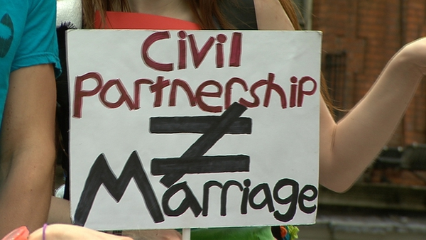 Civil partnership was introduced in Ireland two years ago but does not extend the same rights to same-sex couples