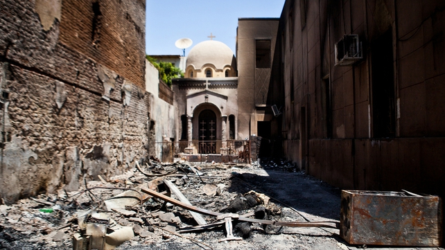 Amir Tadros coptic Church in Minya around 250km south of Cairo, which was destroyed last week