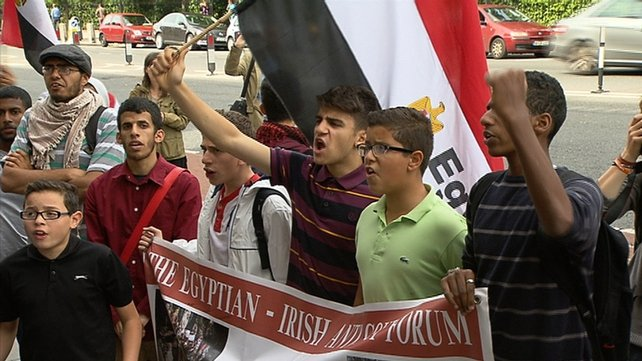 Protests over the detention of four Irish citizens in Cairo outside the Egyptian Embassy in Dublin
