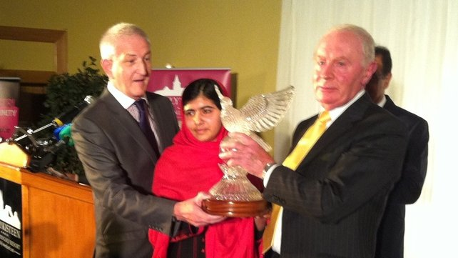 Malala Yousafzai receiving Tipperary Peace Prize 2013
