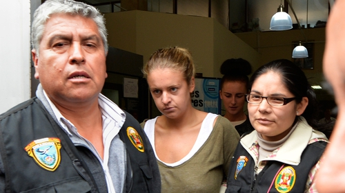 Melissa Reid (centre) said she was willing to admit she went to Peru to pick up drugs
