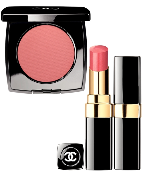 Le Creme Blush de Chanel in Inspiration, €34 and Rouge Coco Shine in Rendez-Vous, €30.50