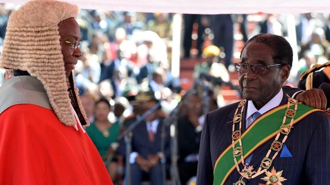 Robert Mugabe took his oath of office before Chief Justice Godfrey Chidyausiku