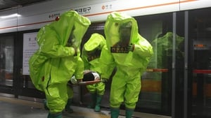 Emergency services personnel participate in an anti-terror and anti-chemical drill session in Seoul, South Korea