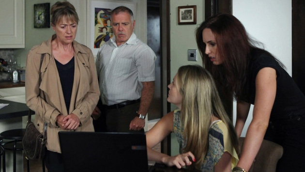 Neasa shows her family the CCTV footage