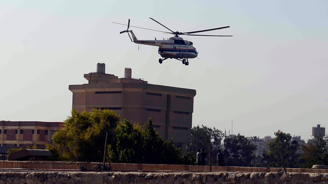 A medical helicopter carried Mr Mubarak to a military hospital
