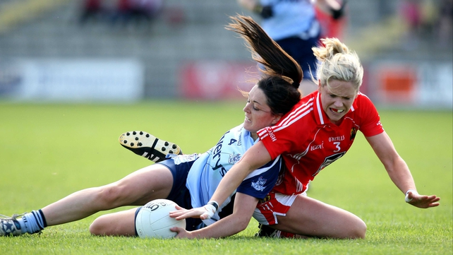 Dublin's Sinead Goldrick and Angela Walsh of Cork clash during last year's quarter-final which Cork won