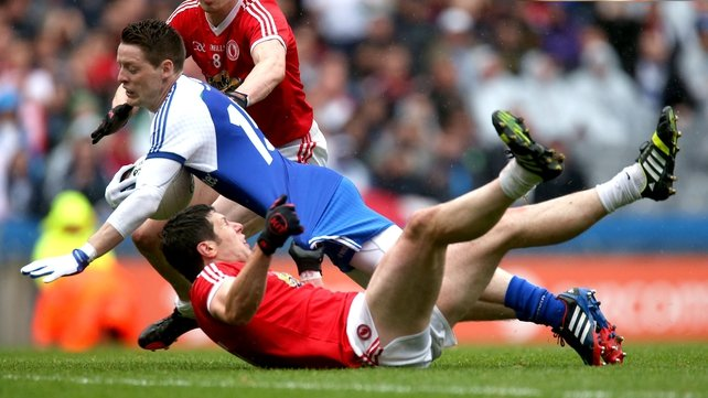 Conor McManus is fouled by Sean Cavanagh in the All-Ireland quarterfinal