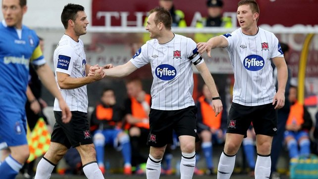 Dundalk's Stephen McDonnell (c) gets the congratulations after scoring from the spot