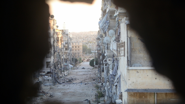 A devastated street in Syria's northern city of Aleppo ravaged in Syria's war