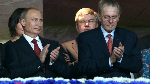 Russian president Vladimir Putin and International Olympic Committee chairman Jacques Rogge earlier this month in Moscow