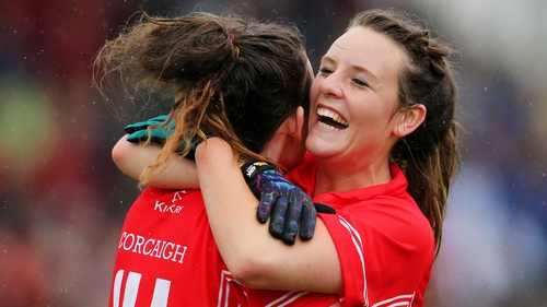 Cork's Doireann O'Sullivan and Orlagh Farmer celebrate after the final whistle in their quarter-final against Dublin