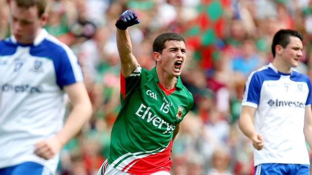 Tommy Conroy celebrates the third Mayo goal
