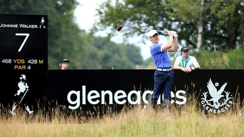 Tommy Fleetwood tees off on the seventh hole
