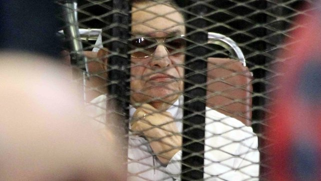 Former Egyptian leader Hosni Mubarak, pictured during his appearance in court in Egypt today