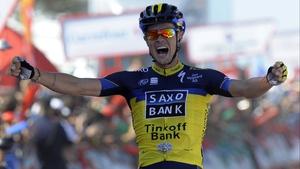 Nicolas Roche celebrates at the line
