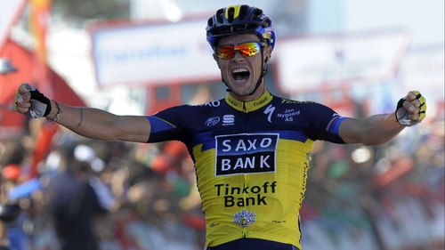 Nicolas Roche celebrates at the line