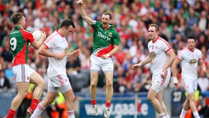Keith Higgins celebrates victory over Tyrone