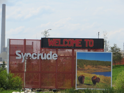 Entrance to Syncrude oil mining location in Alberta Tar Sands