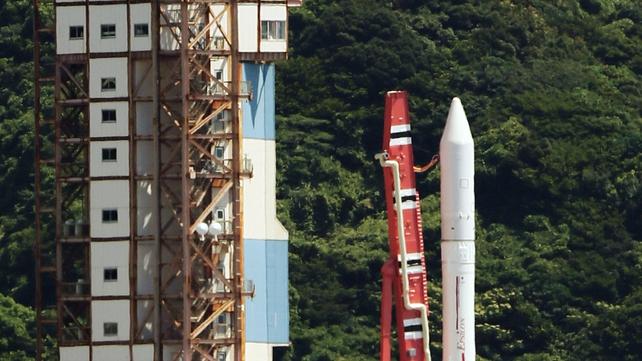 Japan Aerospace Exploration Agency's (Jaxa) new solid fuel rocket Epsilon stands on a launching pad at Jaxa's Uchinoura Space Center at Kimotsuki town in Kagoshima