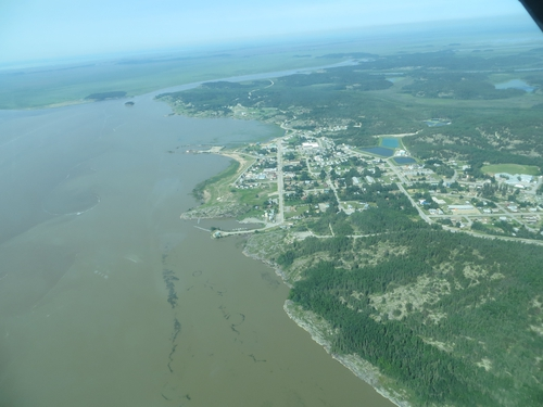 Fort Chipewyan on the shores of Lake Athabasca from the air