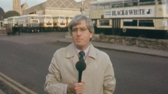 Pat Sweeney outside Donnybrook bus depot, 1974